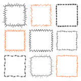 Set of 9 decorative square frames. Ornate square wreaths for use as a decorative element, for logo or emblem. These pattern brush you can find in my portfolio Royalty Free Stock Photo