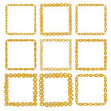 Set of 9 decorative square gold border frames. Golden square wreaths for use as a decorative element, for logo, emblem. Square pattern, square border. These Stock Photos