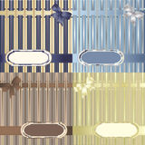 Set of decorative striped backgrounds. With ribbon, bow and label Stock Image