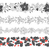 Set of decorative strips with Christmas plants. Four types of seamless Christmas ornament. Vector illustration. Royalty Free Stock Images