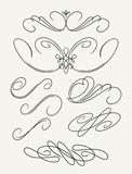 Set of decorative swirls elements, dividers, page decors. Stock Image