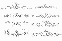 Set of 8 decorative swirls elements, dividers, page decors. Royalty Free Stock Photography