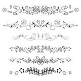 Set of decorative swirls elements, dividers, Royalty Free Stock Images