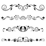 Set of decorative swirls elements, dividers, page decors. Royalty Free Stock Photo
