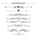Set of decorative swirls elements, dividers, page decors. Stock Images
