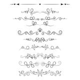 Set of decorative swirls elements, dividers, page decors. Stock Photography