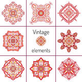 Set of decorative symmetric oriental ornaments Stock Image