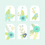 Set of decorative tags with cute flowers. Royalty Free Stock Image