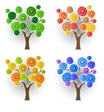 Set of decorative trees Royalty Free Stock Images