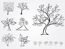 Set of 7 decorative trees Royalty Free Stock Images