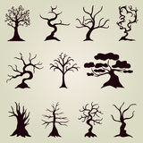 Set of 11 decorative trees Royalty Free Stock Photos