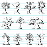 Set of 11 decorative trees Royalty Free Stock Images