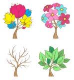 Set of decorative trees Stock Image