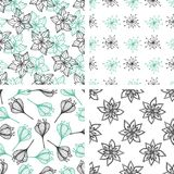 Patterns with green and black flowers Stock Images