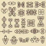 Set of decorative vintage elements. For business cards, posters, logos, postcards, design. Stock Images
