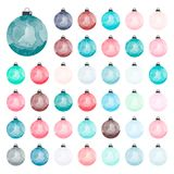 Set of decorative watercolor Christmas balls Stock Images