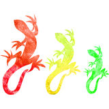 Set of decorative watercolor red, yellow and green lizard silhouette isolated on white background, Hand drawn vector Royalty Free Stock Image