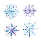 Set of decorative watercolor snowflakes Royalty Free Stock Photo