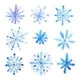Set of decorative watercolor snowflakes Royalty Free Stock Photos