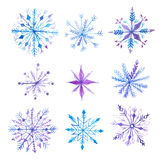 Set of decorative watercolor snowflakes Stock Photo