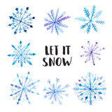 Set of decorative watercolor snowflakes Stock Photography
