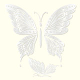 Set of decorative white butterflies cut from paper. Vector illustration Stock Images