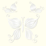 Set of decorative white butterflies cut from paper. Vector illustration Stock Photography