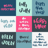 Set of 9 decorative Xmas greeting Card. Stock Photography