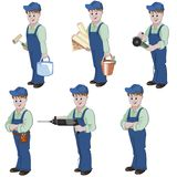 Set of decorator or handyman with equipment for repair. Stock Photo