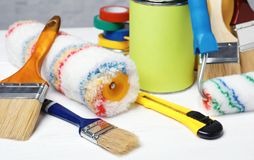 Set of decorator`s tools. On wooden table Stock Image