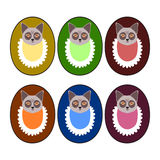Set of deep colors - puppy heads with bibs - design for goods marking Stock Photography