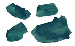 Set of deep green hand drawn watercolor stains vector illustration