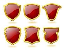 Set of Deep Red Shield Icons with Golden Frame Royalty Free Stock Image