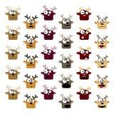 Set of deer emoticons royalty free illustration
