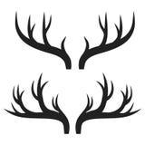 Set of deer horns on white, stock vector illustration. Eps 10 Royalty Free Stock Photos
