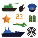 Set of Defender of Fatherland Day holiday icons. Set of flat army, military objects, Russian Defender of Fatherland Day holiday icons - tank, battleship Royalty Free Stock Photos