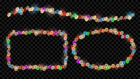 Set of fairy lights. Set of defocused multicolored fairy lights with bokeh effects in shape of ellipse, rectangle and wave Royalty Free Stock Images