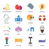 Set of 360 degree, concierge, penetration, join us, cost uction, live support, next steps, car dealer, customer experience icons. Set Of 16 simple  icons such as Royalty Free Stock Image