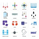 Set of 360 degree, next steps, number players, grammar, adaptability, christmas bulb, order form, travel agent, xxx icons. Set Of 16 simple  icons such as 360 Stock Image