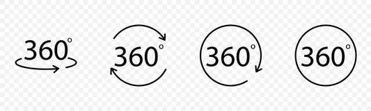 Set of 360 Degrees Vector icons. 360 Degree Vector icon. 360 icon. Web icon. 360 degree icon Royalty Free Stock Photos