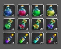 Set dekoracj ikony dla gier Butelki napój miłosny ilustracja wektor