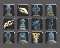 Set dekoracj ikony dla gier Grób, śmierć i sculls, ilustracji
