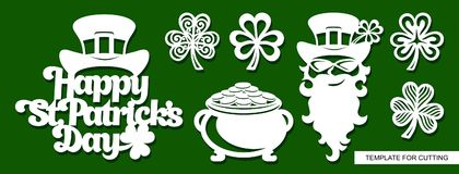 Set dekoracja dla St Patrick ` s dnia: Leprechaun, garnek pełno złoty monet, shamrock i zwrota ` St Patricks dnia Szczęśliwy `, royalty ilustracja