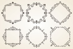 Set dekoracyjna rama wektoru ilustracja Elegancka luksusowa rocznik kaligrafii rama tła karciana powitania strony szablonu cechy  Obraz Stock