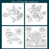 Set Dekoracyjni doodle ptaki Zdjęcia Royalty Free