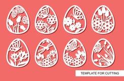 Set dekoracyjni elementy - Wielkanocni jajka z kwiecistym ornamentem i motylami royalty ilustracja