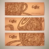 Set dekoracyjni kawowi sztandary Zdjęcie Royalty Free