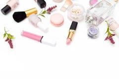Set dekoracyjni kosmetyki na białym tle kosmos kopii Obrazy Stock