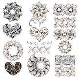 Set dekoracyjni serca, kwiecistego projekta elementy, granicy odizolowywać na białym tle royalty ilustracja