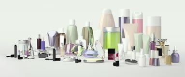 Set dekoracyjny kosmetyk Proszek, concealer, oko cienia muśnięcie, royalty ilustracja